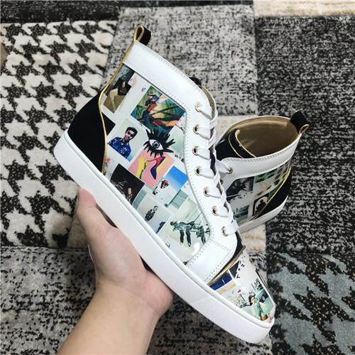İtalya Sıcak Marka Graffiti Spike Ile Boya Deri Rahat Ayakkabılar Kadın Erkek Sneakers Moda Lüks Kırmızı Alt Ayakkabı Yeni-şık Eğitmenler