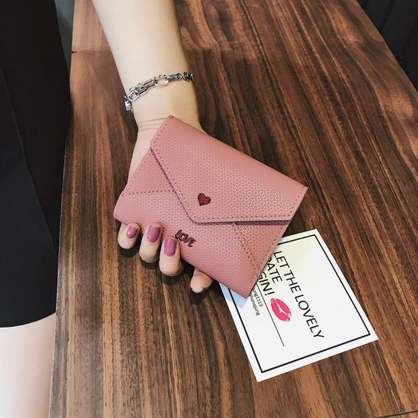 Pink Love Heart Short Wallet 2019 Fashion Pu Leather Women Wallet Lindo Pequeño Estándar Monedero Titular de la Tarjeta Monedas Monedero Bolsa de dinero