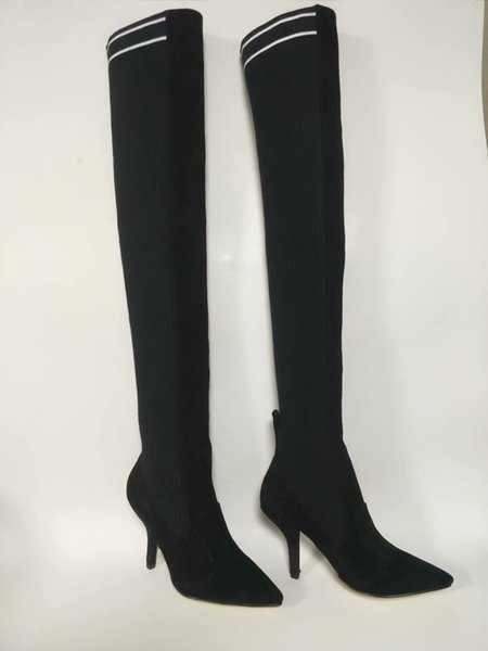 black Velevt Long Boots