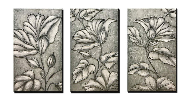 Hand-Painted Abstract Oil Painting Grey Flower Decoration Paintings Modern Home Art Works Abstract Art and Flower Wall Art Decoration