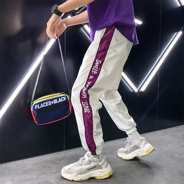 Muti Renk Blok Patchwork Pantolon Erkekler Hip Hop Muti Tarzı Rahat Joggers Pantolon Erkek Rüzgarlık Joggers Sweatpants Yüksek Kalite