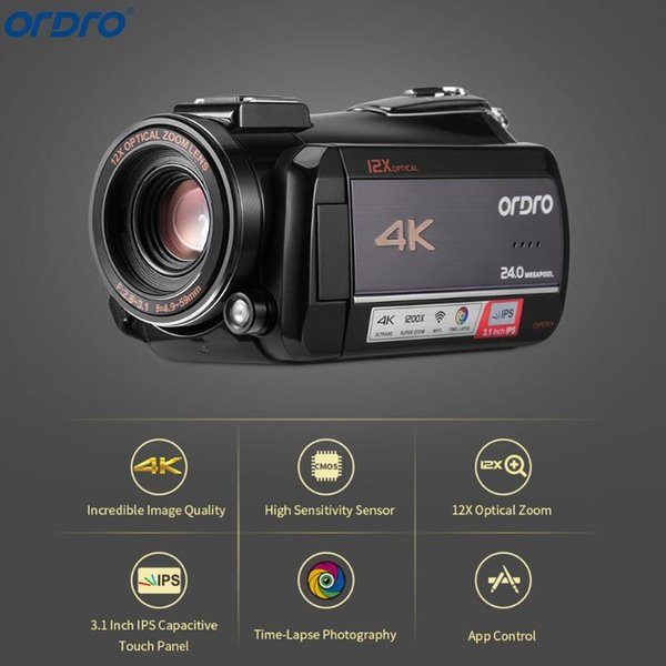 Videocamera digitale Ordro AC5 4K UHD12X FHD Touch screen IPS IP WiFi 24X Zoom digitale Digro Zoom ottico 12X Camcorder