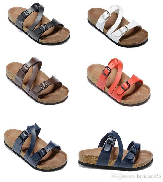 Nouvelle vache pantoufles en cuir blanc rouge Mens sandales plates femmes chaussures deux boucle design de mode Arizona Summer Beach Top qualité avec boîte d'origine