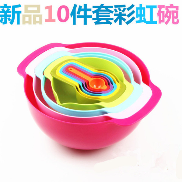 Originality Baking Rainbow Plastic Cup Bowl 10 Paper Set Bring Scale Amount Spoon One Accept Rice Screen Sand Pull Suit