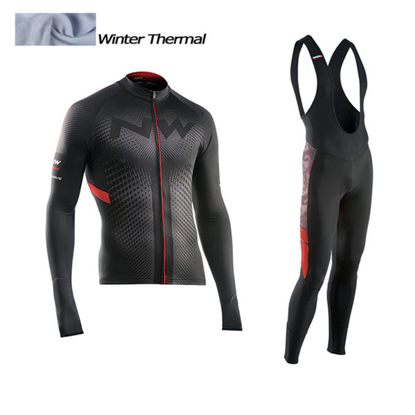 2017 NW Winter Thermal Fleece Cycling Jersey Long Sleeve Jerseys Cycling Bib Pants Set Bike Bicycle Clothes 3 Color