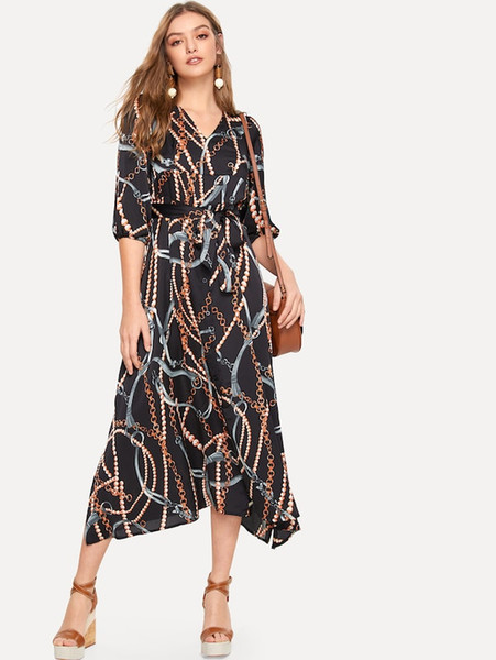 dress womens holiday 3/4 lantern sleeve ladies maxi long spring summer print shackles dress size s-l for women