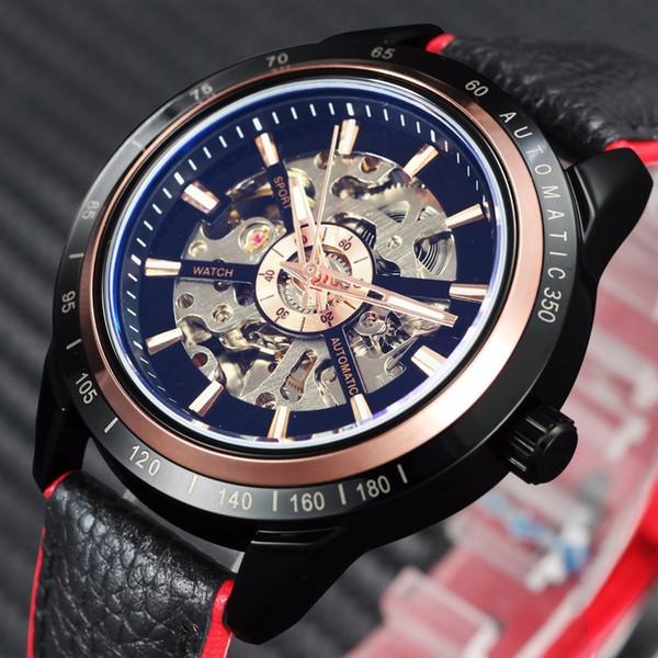 Vencedor Da Motocicleta Design Transparente Genuine Red Black Belt Esqueleto À Prova D Água Homens Automáticos Relógios Top Marca de Luxo Relógio Y19052103