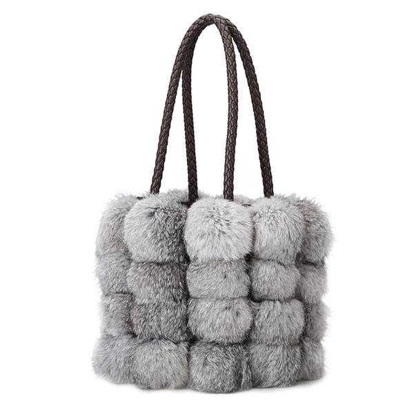2019Women Shoulder Bag Brand Designer pu Leather Autumn Winter Bags Seto rabbit hair handbags Skin Crossbody bag
