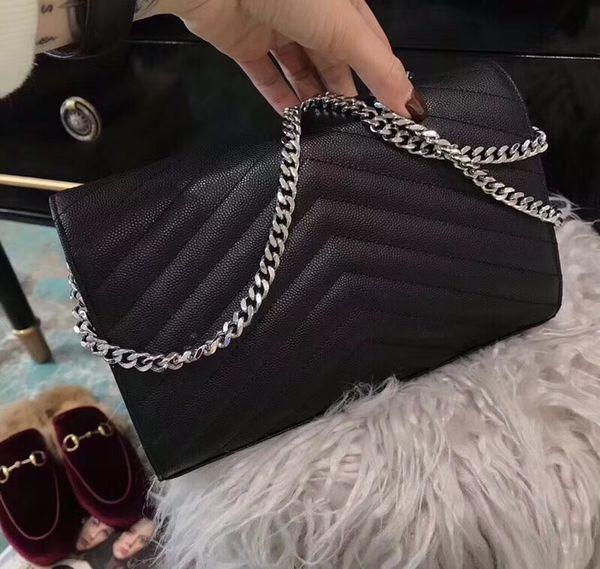 Black cowhide silver chain