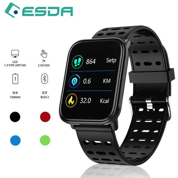 Smart Watches T6 fitness watch full screen touch heart rate blood pressure monitoring waterproof bracelet Android Smartphone pk A6