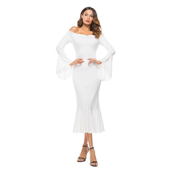 Женщины летнее платье ретро старинные макси платье с длинным рукавом 2019 осень с плеча рябить средневековые элегантные платья партии Vestidos