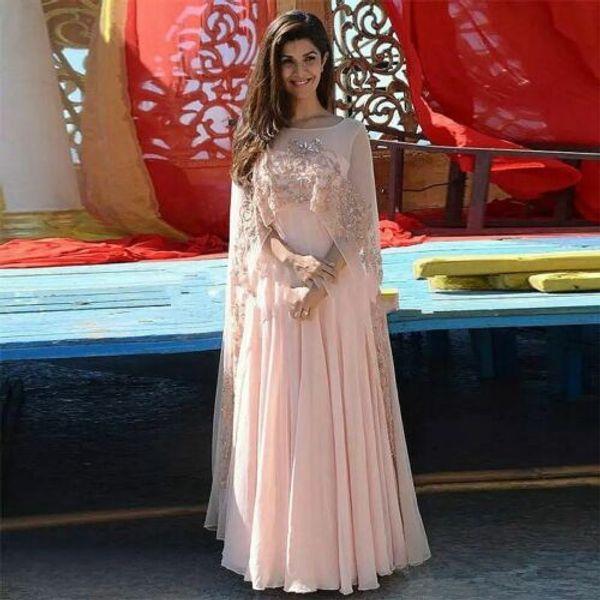 2019 Zarif Kristal Pembe Uzun Şifon Abiye Boncuk Dantel Aplike Gelinlik Örgün Akşam Törenlerinde Giymek Mezuniyet Elbiseleri