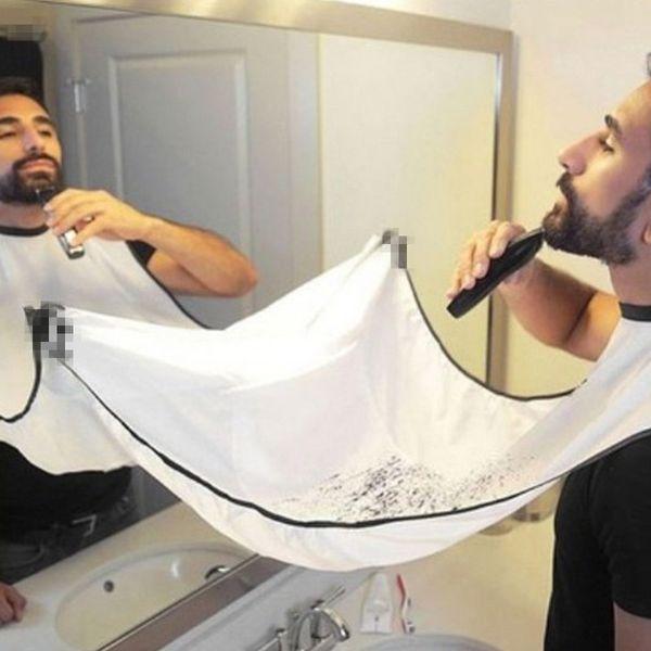 120x70cm Male Beard Black White Apron Bib Trimmer Facial Hair Cape Sink Shaving Beard Apron Waterproof Bathroom supplies