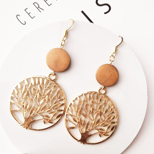 2019 Bulk Order Factory Price Women Jewelry Tree Of Life Aolly Metal Golden Color And Wooden Drop Earrings From Tbhfashion 084 Dhgatecom