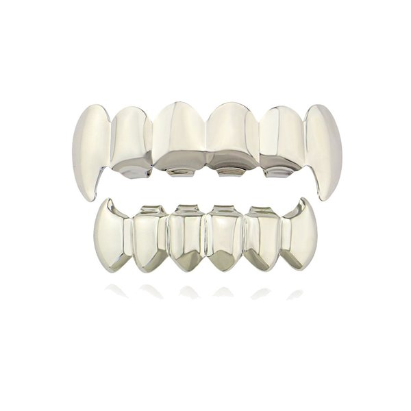 New Smooth Fangs Teeth Real Gold Plating Hip Hop Jewelry Gold Braces Snaps teethtopExplosive Braces Fashion
