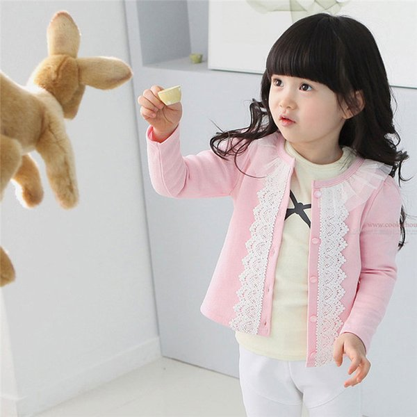 Cardigan in cotone sottile moda per ragazze in pizzo a maniche lunghe Cardigan Giacche e cappotti Ragazza Abbigliamento Primavera Estate vestiti