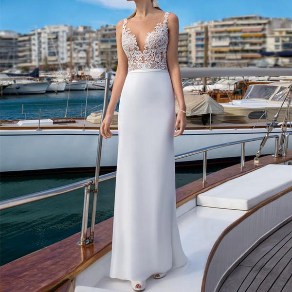 2019 Simple White Chiffon Sheath Wedding Dresses Floor Length Country Bridal Gowns Sexy Lace Backless Beach Bridal Dresses Robe De Mariée