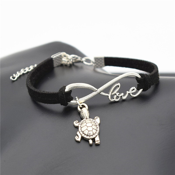 Summer Chic 2019 Beach Lovely Animal Jewelry Small Tortoise Cute Silver Sea Turtle Charms Love Infinity Black Leather Suede Unique Bracelets