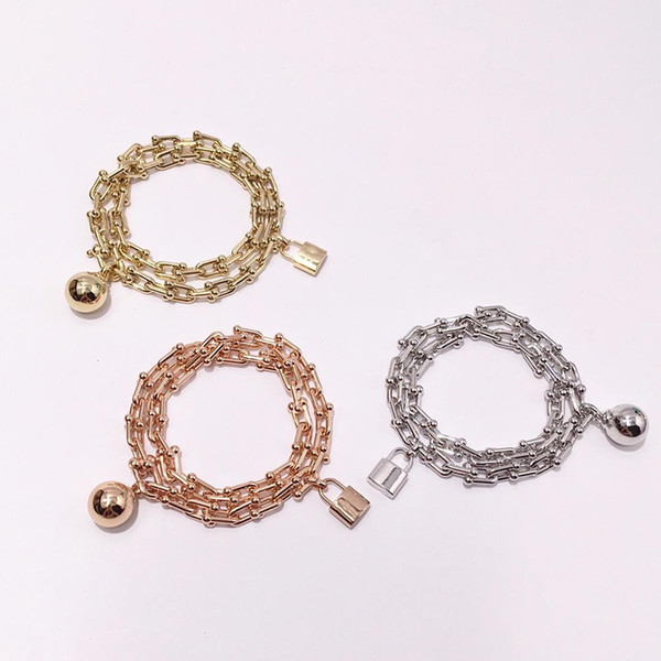 best selling The letter t and U shaped chain head Lock head ball double circle Twisted Titanium steel bracelet