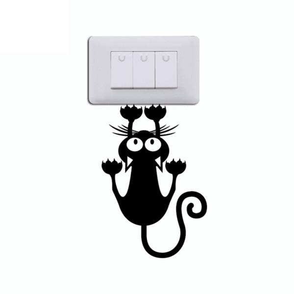 Cat Hanging On Light Switch Sticker Wall Decal Art Vinyl Cartoon Cat Stickers