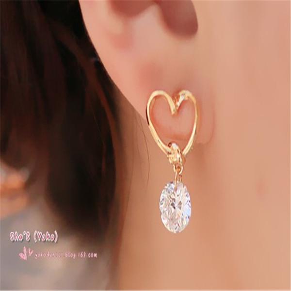 Earrings For Teens Crystal Wedding Women heart design earring Elegant fashion