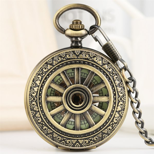 2019 New Retro Luminous Mechanical Pocket Watch Hand-Winding Steampunk Hanging Clock Antique Watch for Men Women