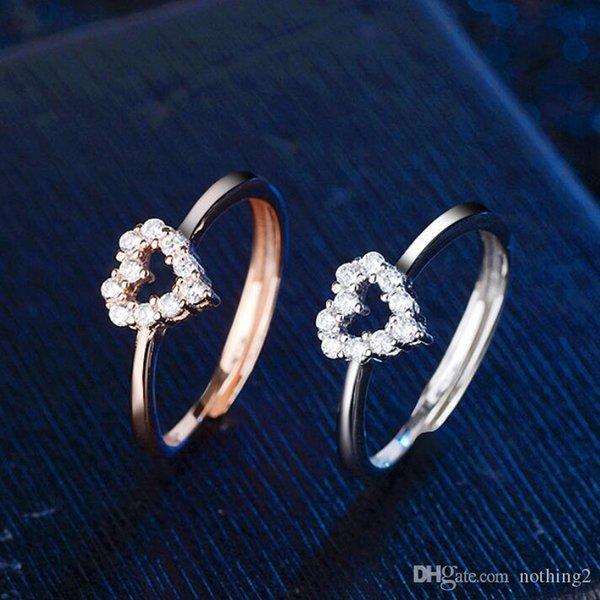925 Sterling Silver Plating Femmes Crystal Ring Sets Bagues Hommes Anneaux amoureux J021
