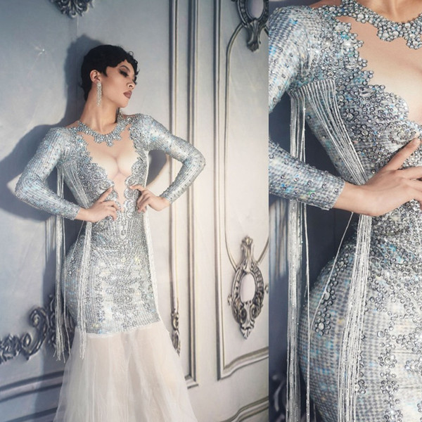 Sexy Shining Crystals Fishtail Long Dress maniche lunghe donne maglia Bodycon Dress Party Prom costumi Singer Performance Wear