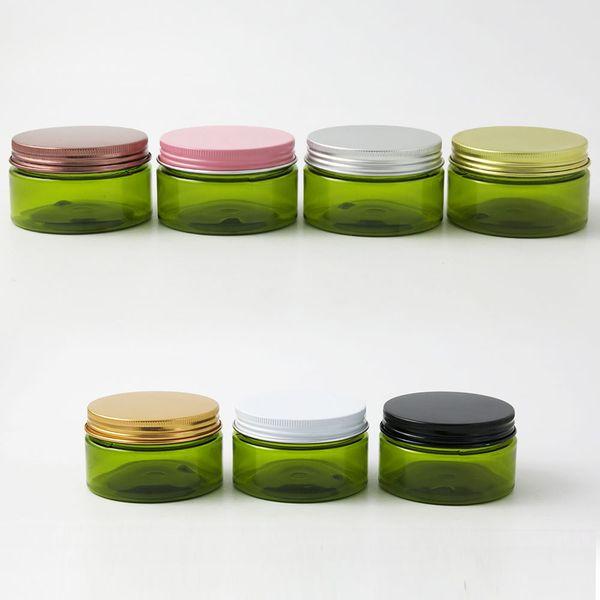 La crema cosmética verde vacía contiene los tarros de crema 100cc 100ml para los envases de cosméticos Botellas de plástico con tapas de metal 24 x 100 g
