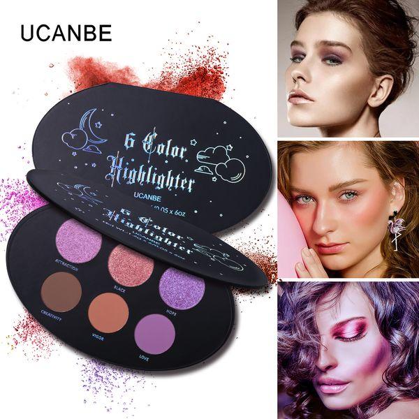 UCANBE 6 цвет блеск тени для век маркер и бронзатор макияж мерцание блеск тень естественный фетиш румяна контур палитра свечение комплект порошок