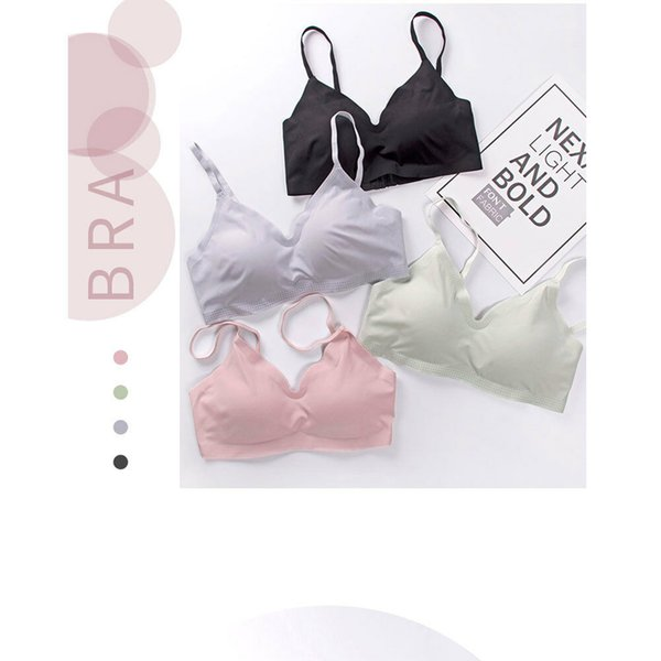New Women Hot Summer Ice Seamless Bras Woman Padded Plunge Candy Color Bra Female Lady Newest Stretch Comfort Wire Free Bras