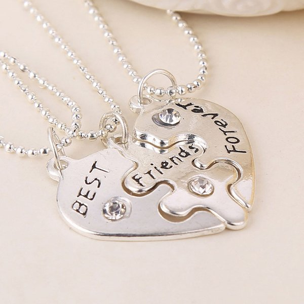 Hot Sale 3Pcs/set Best Friends Forever BFF Pendant Necklace Silver Love Heart Chain Necklaces Friendship Jewelry Gifts