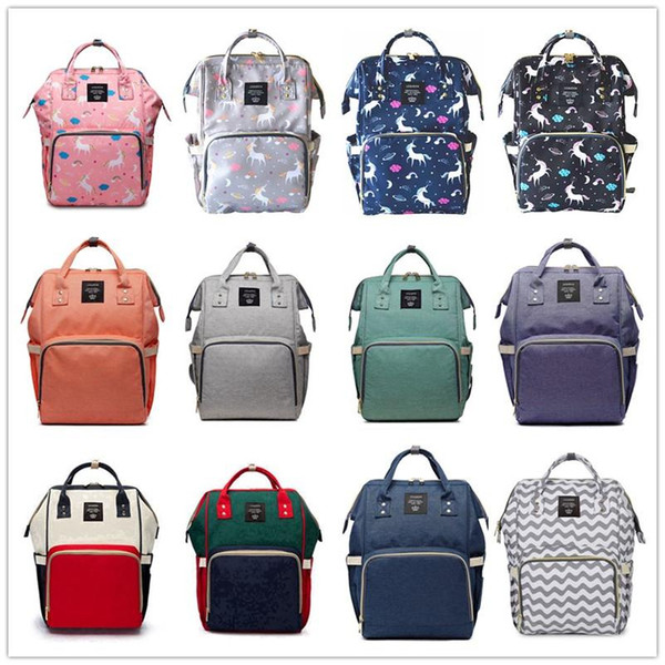 19 Colors Unicorn Mummy Maternity Diaper Backpack Bags Nappy Diaper Large Capacity Baby Bag Travel Backpack Home Storage Bags 10pcs