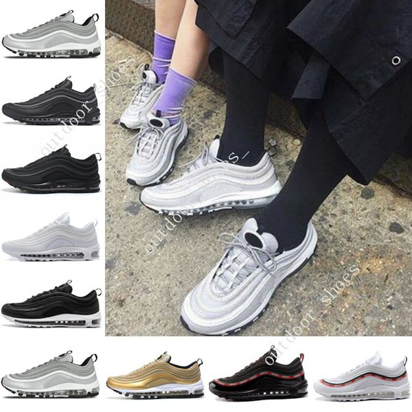 Cheap Cushion 97 OG QS Metallic Gold Silver Bullet PRM Triple White Black Skepta Sk London Bronze Running Shoes Mens Outdoor Sports Shoes