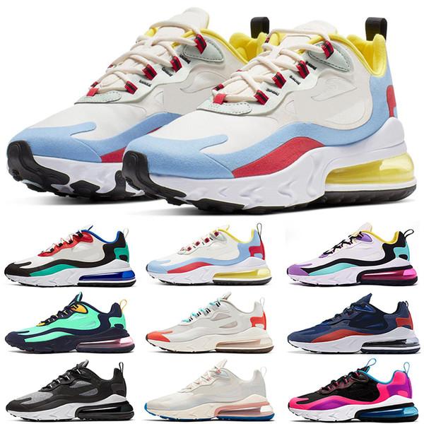 Großhandel Nike Air Max 270 React 2019 New BAUHAUS Laufschuhe Für Herren OPTICAL Schwarz Weiß Designer Herren Turnschuhe Sport Sneakers Kissen