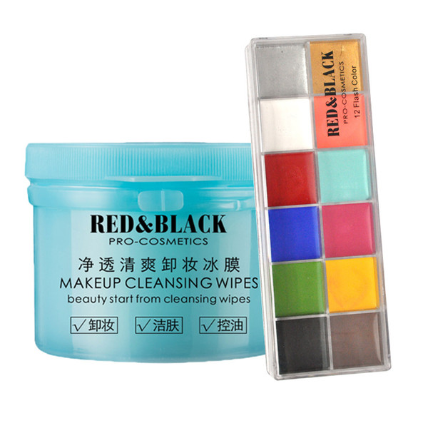 Red&black Halloween Face And Body Oil Paints Paints Ing Art Evening Graceful Dress 12 Flush Tattoos Color Cleansing Wipes