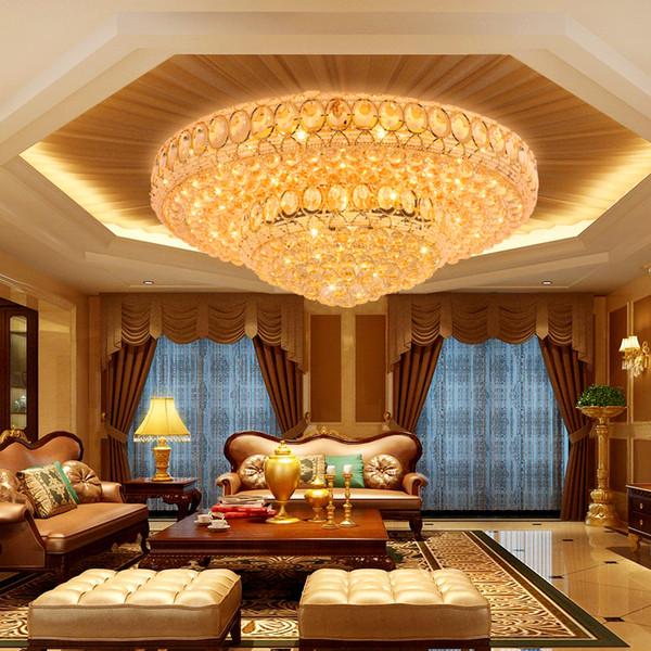 LED Moderne Cristal Plafond Lampes Américain Or Cristal Plafonniers Luminaire Foyer Salon Lit Chambre Foyer Maison Éclairage Intérieur