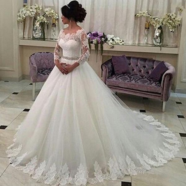 2019 Chic Simple Sexy Sheer V-Neck Beach Wedding Dresses Illusion Long Sleeve Backless Beach Bridal Gowns Sweep Train