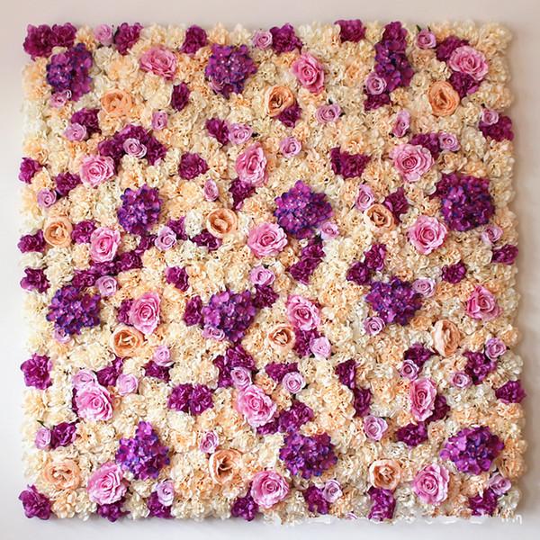 Großhandel Hochzeit Hintergrund 3D SiLK Blume Wand Simulierte Blumenladen Fenster Dekoration Grün Pflanzen Wand Rose Hydrangea Party Dekoration