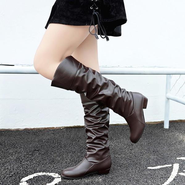 Старинные модные кожаные сапоги Wome's до колена сплошной цвет плоские зимние ботинки снега Slip-On Party обувь теплые женские девушки