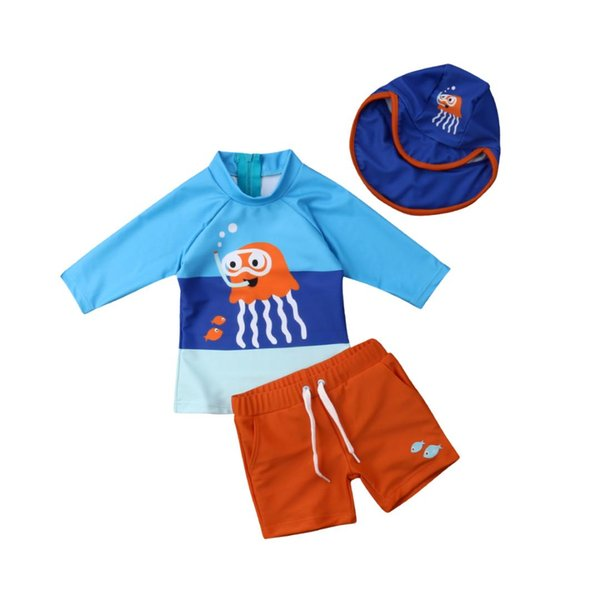 566fbdb607d9 Hot Fashion Toddler Kids Baby Boys Swimwear Long Sleeve Cartoon Octopus  Swimsuit Bathing Suit Surf Clothes