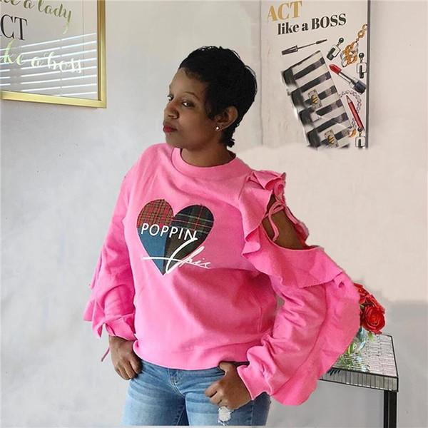 Frauen-Liebe-Druck Designer-T-Shirts Art und Weise aushöhlen Falbala lange Hülsen-Frauen-T-Shirts beiläufige Frauen Kleidung
