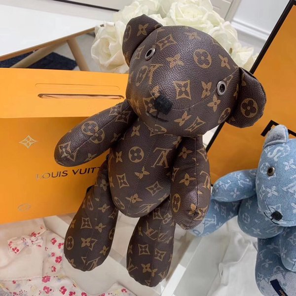 top popular Kids Dolls Toys Children Simulation Cartoon Bear leather Toy Doll Pillow Home Decoration denim Doll Baby Toys 2020