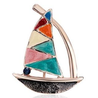 COLORFUL SAILING BOAT SLOOP BROOCH BADGE COLLAR PIN CLOTHES SWEATER BROOCHES CHEST PIN SILK SCARF PINS BREASTPIN JESERY OVERCOAT JEWELRY
