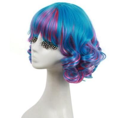 freies Verschiffen Bezaubernde schöne heiße Verkaufsqualitäts-neue kurze gewellte gelockte Lolita Perücken-Frauen-Höhepunkt-blaue rosafarbene Haar-Partei