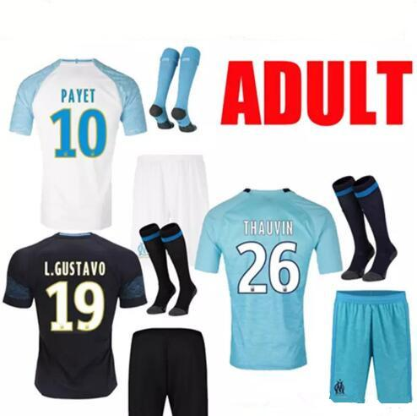 best selling 18 19 Olympique de Marseille Soccer Jersey OM Marseille Maillot De Foot 19 L.GUSTAVO PAYET THAUVIN 2018 2019 Marseille Custom boy's Football