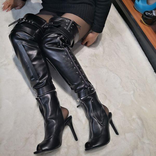 Kolnoo 2019 Hot Sale frauen Oberschenkel-hohe SpringFall Stiefel Peep-Toe Slingback Nieten Spikes Booties Party Prom Mode Dressing Schuhe D130