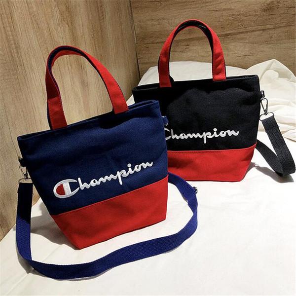 Women Canvas Embroidery Champions Letter Handbag Students Belt Shoulder Bags Women Kids Travel Shopping Tote Zipper Handbags 2019 C3156