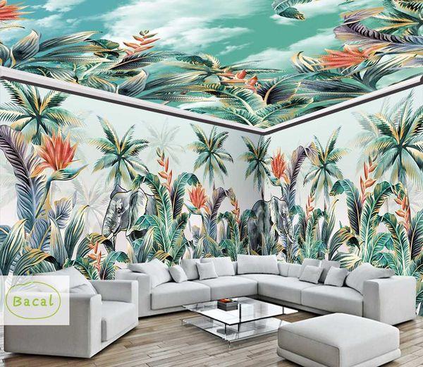 Bacal Personalizzato 3D Carta da parati murale Foresta pluviale tropicale Foglia di banana Foto Sfondo Murales Carta da parati soffitto dipinta a mano Carta da parati moderna