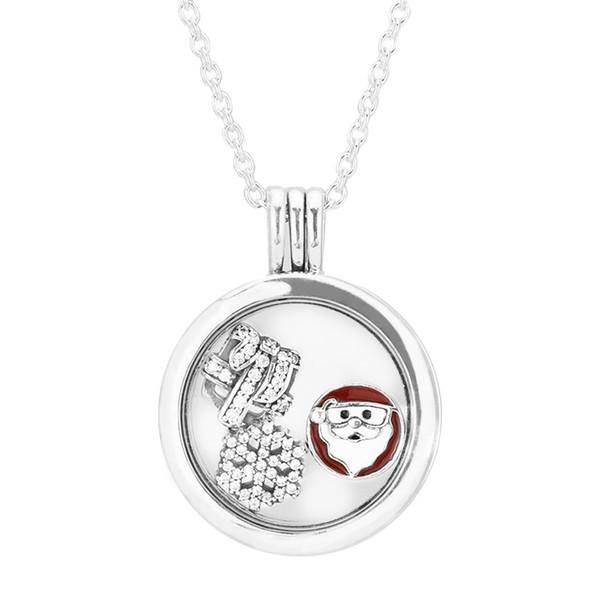 Cadeau de Noël 2016 Grand pendentif en argent avec médaillon flottant et collier avec Petite Element Pack Charms Silver 925 Originaly